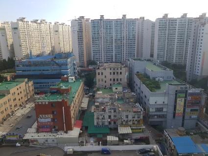 Ansan Blick aus dem Hotelfenster